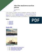 Lista Dos Maiores Navios de Passageiros