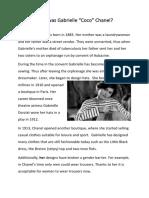 Who Was Gabrielle Coco Chanel Conversation Topics Dialogs Reading Comprehension 105619