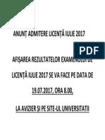 Anunț Admitere Licență Iulie 2017