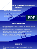 Develop a Self Generate Drinking Water for Small Boat Application