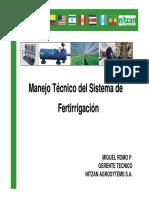 Miguel Romo, Manejo Técnico Del Sistema de Fertirrigación