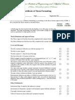 Certificate Regarding Thesis Format