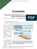 Transport Des Liquides Par Conteneurs_ CMA CGM Performe _ L'Economistek