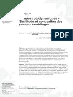 Pompes Rotodynamiques - Similitude Et Conception