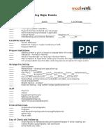 Generic Event Checklist