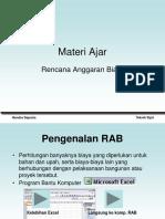 Pengenalan RAB Excel