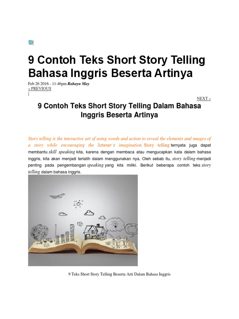 9 Contoh Teks Short Story Telling Bahasa Inggris Beserta Artinya Docx