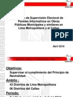 Reporte de Supervisión Electoral de Paneles Informativos en Obras Públicas Municipales y similares en   Lima Metropolitana y el Callao