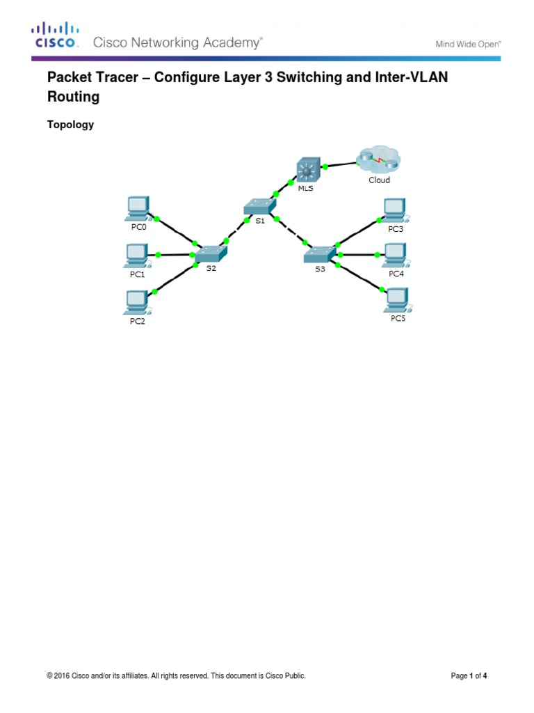 2 3 1 5 Packet Tracer - Configure Layer 3 Switching and Inter-VLAN