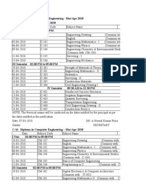 C 16 Mar Apr 2018 Time Tables | Engineering | Electronics