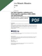 104075783 CATTARUZZA Los Anos 70 y 60 Enla Historiografia Argentina