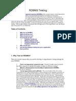 Relational DataBase Management Systems (RDBMS) Testing