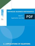 Matematika Bisnis - Application and More Algebra