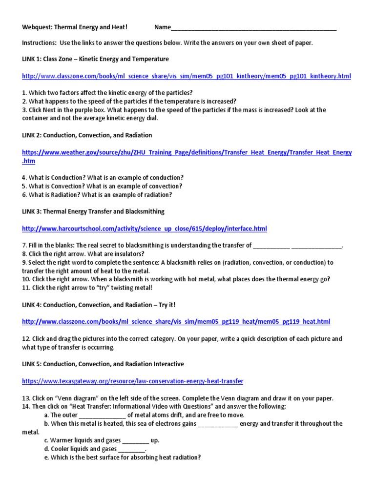 Webquest Conduction Convection Radiation Thermal Conduction Convection