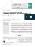 Comparison of measured and calculated consolidation settlements of thick underconsolidated clay