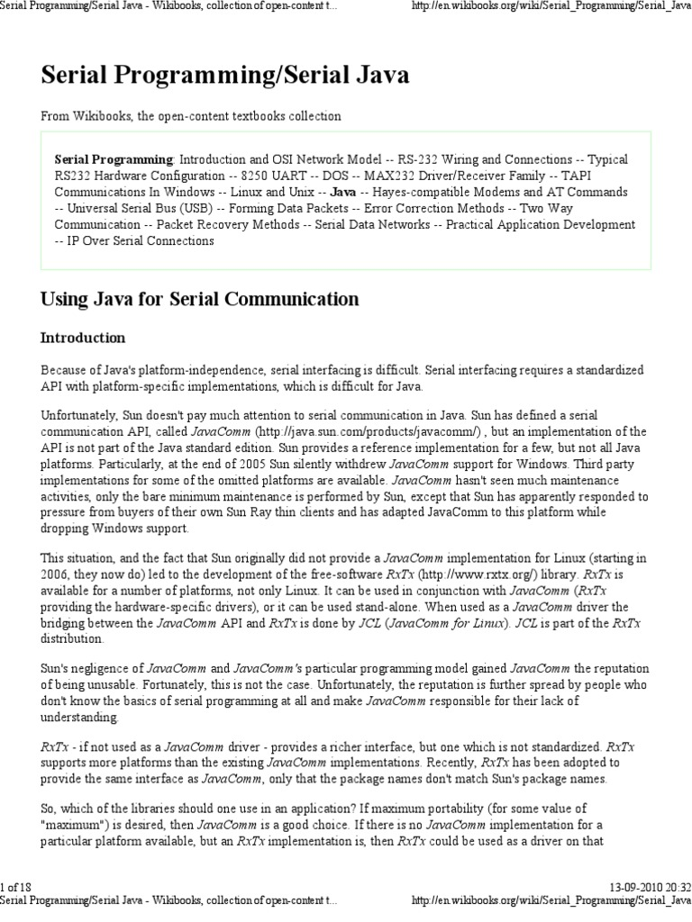 Serial Port | Java (Programming Language) | Application