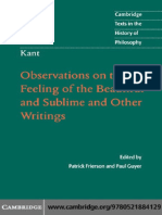 (Cambridge Texts in the History of Philosophy) Patrick Frierson, Paul Guyer-Kant_ Observations on the Feeling of the Beautiful and Sublime and Other Writings-Cambridge University Press (2011)