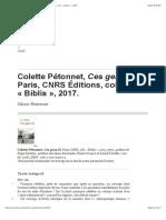 Colette Pétonnet, Ces gens-là, Paris, CNRS Éditions, coll. «Biblis», 2017.
