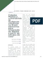 » Cidades Médias e Vulnerabilidade Às Mudanças Climáticas No Brasil_ Elementos Para Integração Do Debate a Partir de Estudos de Caso