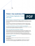 Visitor Visa Tourism Stream Checklist