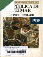RICHARD Lionel a Republica de Weimar Cap I