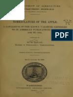 Apple - Ragan - BOOK Nomenclature of the Apple - 1905