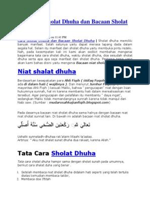 Tata Cara Sholat Dhuha Dan Bacaan Sholat Dhuha 2