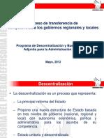 Proceso de Transferencia de Competencias a Los Gobiernos Regionales y Locales