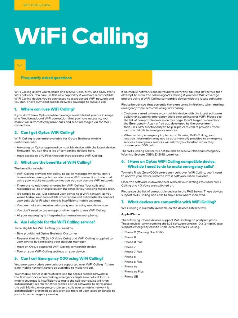 WiFi Calling FAQs | Wi Fi | I Phone