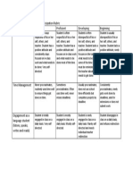 Spanish Class Weekly Student Participation Rubric