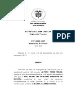 BUEN NOMBRE Y HONRA – Tutela Daniel Samper Ospina Vs Álvaro Uribe Vélez. STP14284-2017