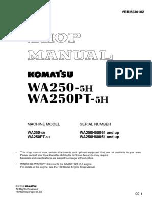 Machine Model Serial Number: WA250-WA250PT- WA250H50051 and up ... on