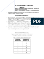 """Practica No.4 """"Destilación Simple y Fraccionada"""""""