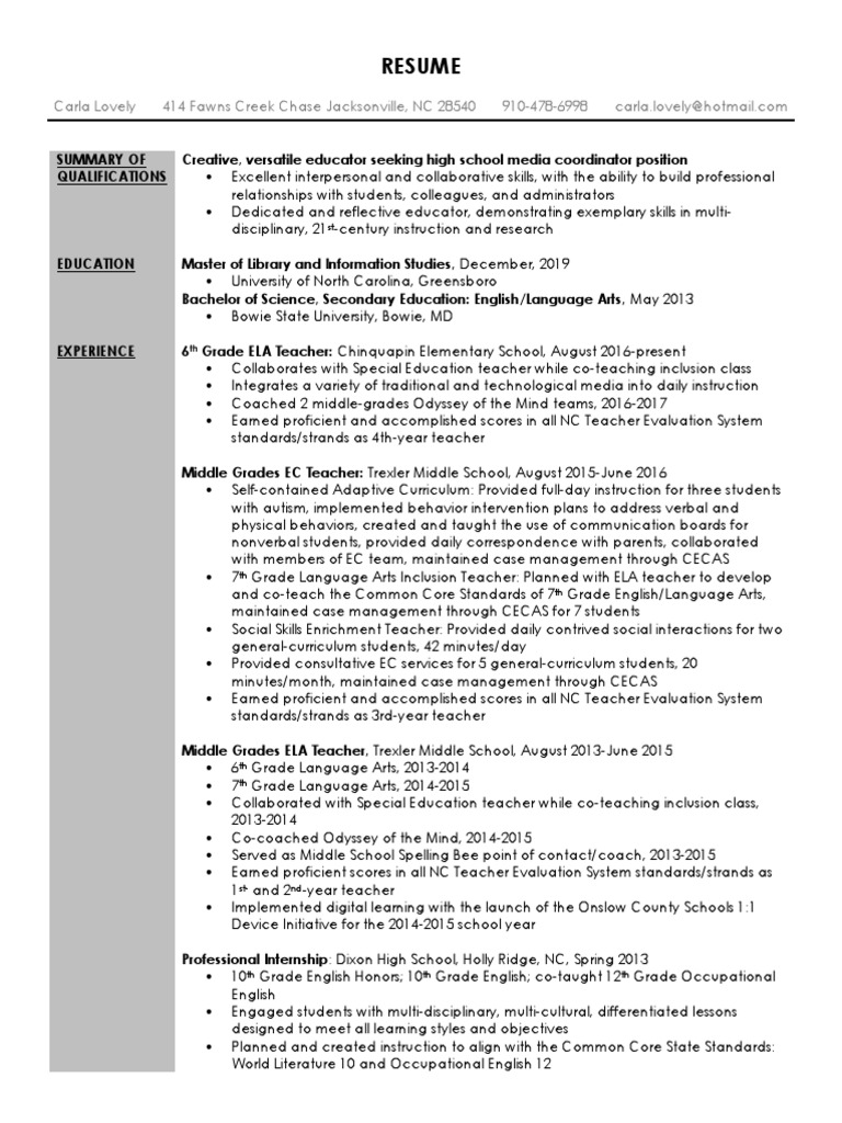 digital profile resume | Special Education | Teachers