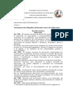 Constitucion Del Ecuador La Educacion