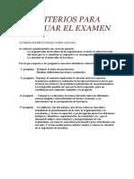 Criterios Para Evaluar El Examen