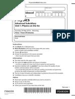 June 2016 (IAL) QP - Unit 1 Edexcel Physics a-level