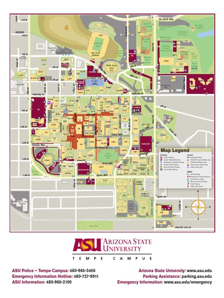 Arizona State University Tempe Campus Map.Tempe Current 2 Arizona State University Sports