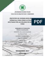 Investigación PROTOTIPO DE VIVIENDA BIOCLIMÁTICA VERNÁCULA PARA ZONAS ALTOANDINAS AFECTADAS POR LAS HELADAS EN MAZOCRUZ, PUNO