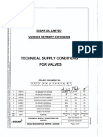 Technical Supply Conditions for Valves