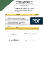 Ceklis Penilaian Kinerja Petugas Pelayanan Klinis Dari Dokumentasi Pelayanan Klinis Pkm Tarogong
