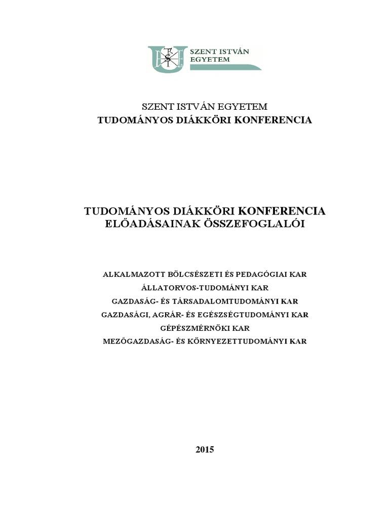 Tudományos Diákköri Konferencia Előadásainak Összefoglalói 631e835b2e