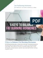 5 Keys to Balance Fat Burning Hormones