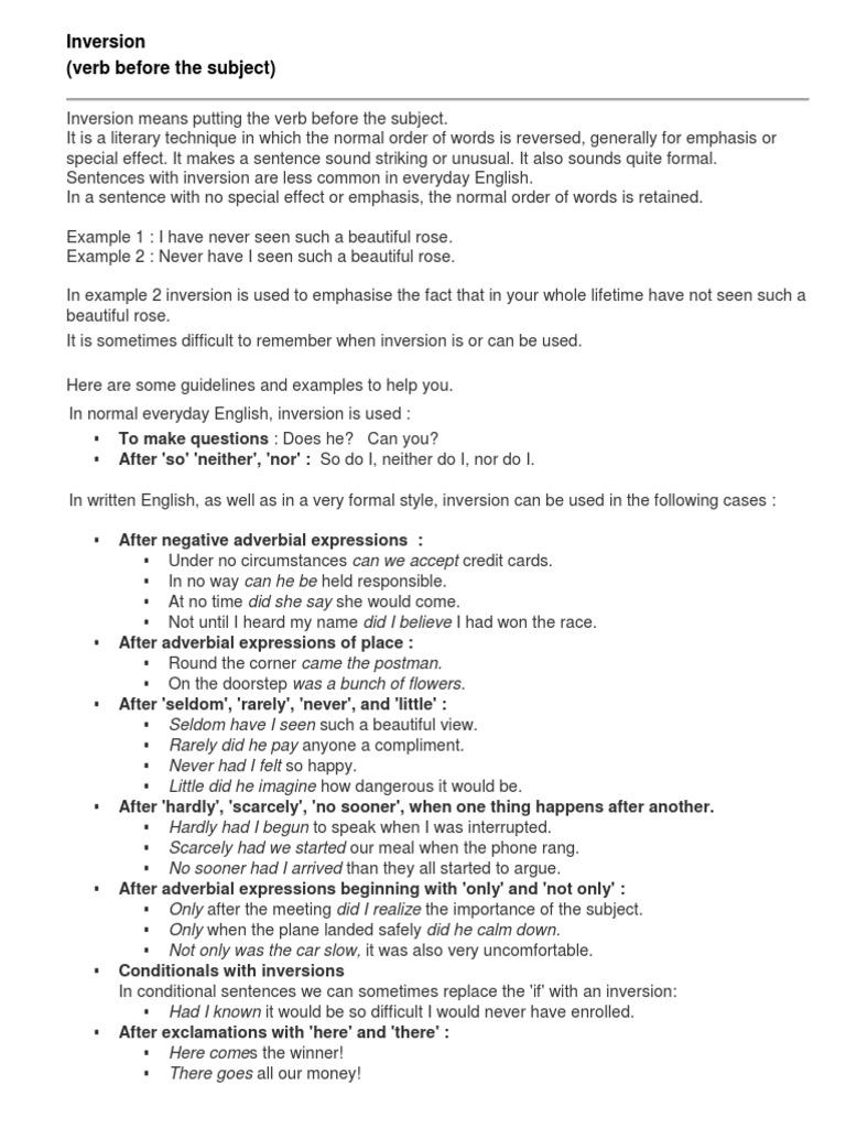 Inversion.docx | English Language | Grammar