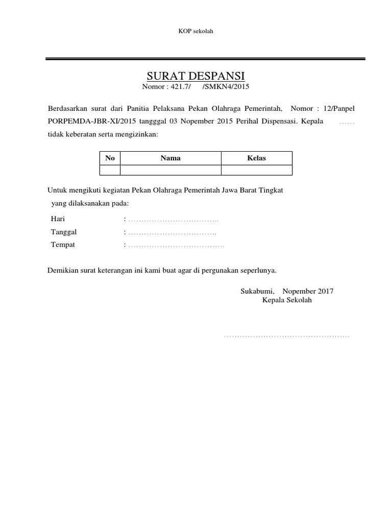 Contoh Surat Keterangan Dispensasi Siswa