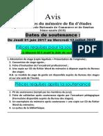 Avis Et Pièces Soutenance PFE DENCG S10 -2016-2017