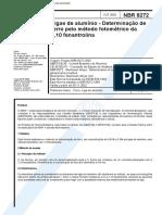NBR 08272 - Ligas de Aluminio - Determinacao de Ferro Pelo Metodo Fotometrico Da 1 10 Fenantrolin