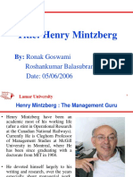 Contribution of Henry Mintzberg to Industrial Management.
