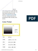 Color Codes for CSS