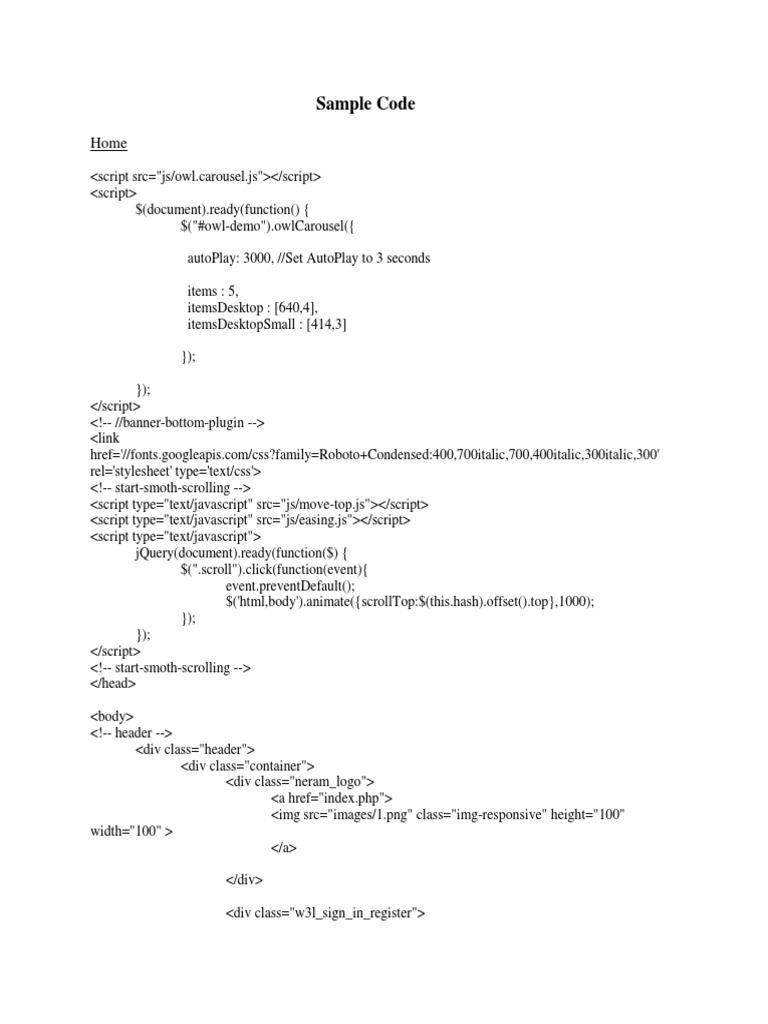 sample code | Java Script | Bootstrap (Front End Framework)